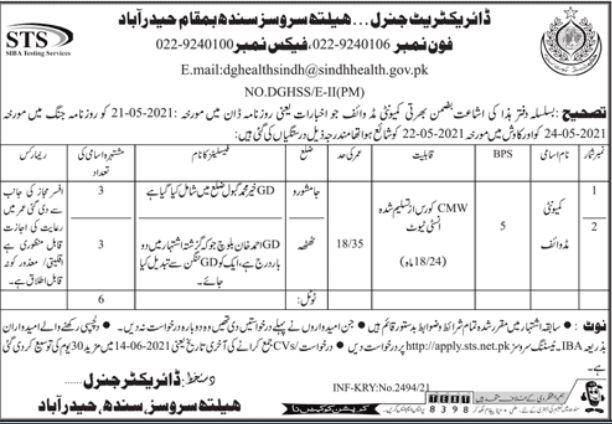 Sindh Health Services Hyderabad Jobs 2021