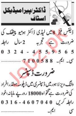 Pathologist & Gynecologist Jobs 2021 in Lahore