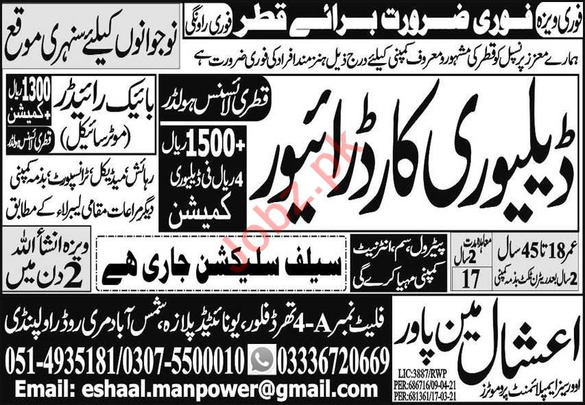 Delivery Car Driver & LTV Driver Jobs 2021 in Qatar