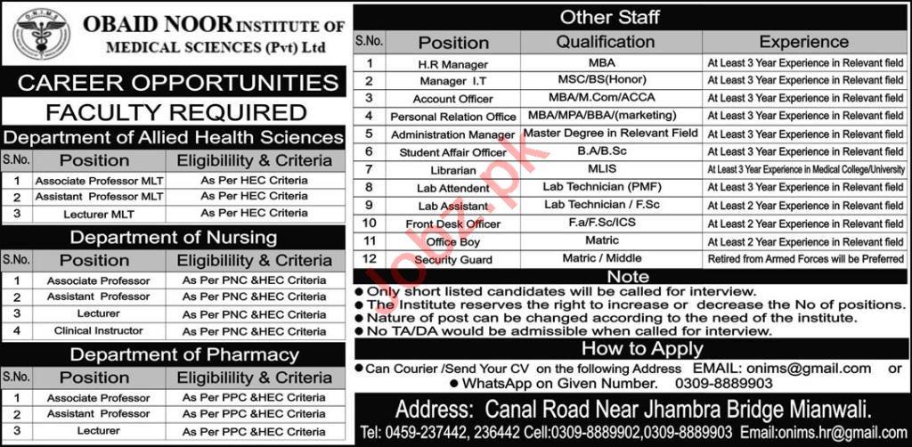 Obaid Noor Institute of Medical Sciences Mianwali Jobs 2020