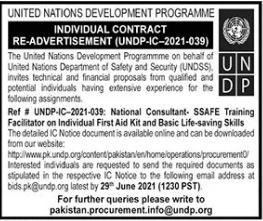 UNDP Job for Training Facilitator in Islamabad