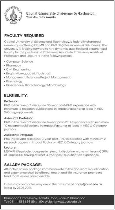 Capital University of Science & Technology Islamabad Jobs