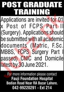 Fauji Foundation Hospital RA Bazar Lahore Jobs 2021