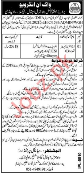 Wah General Hospital Taxila Jobs 2021 for Data Entry