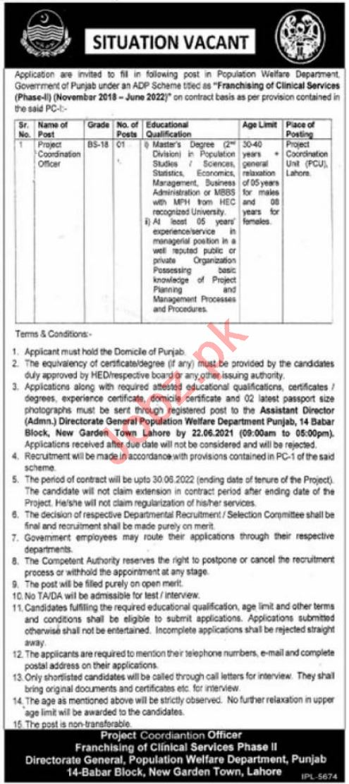 Franchising of Clinical Services Population Welfare Jobs