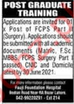 Fauji Foundation Hospital Lahore Jobs 2021 for Doctors