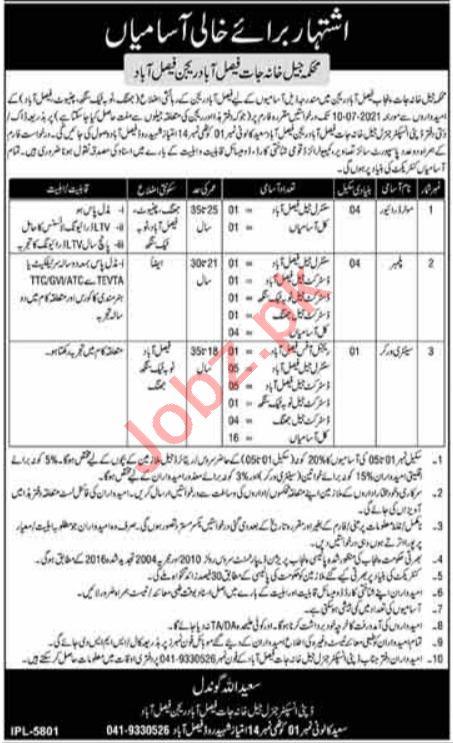 Jail Department Faisalabad Region Jobs 2021 for Plumber