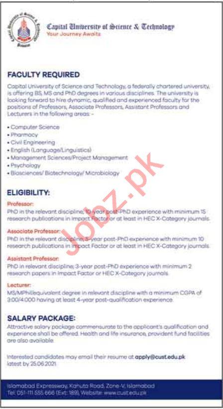 Capital University of Science & Technology CUST Jobs 2021