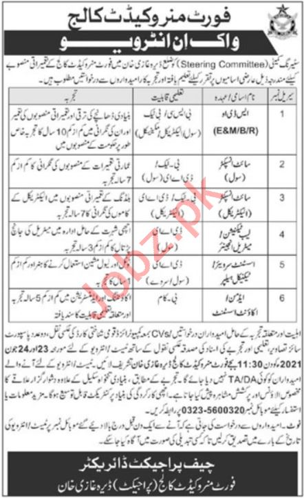 Fort Munro Cadet College Jobs 2021 for SDO & Site Inspector