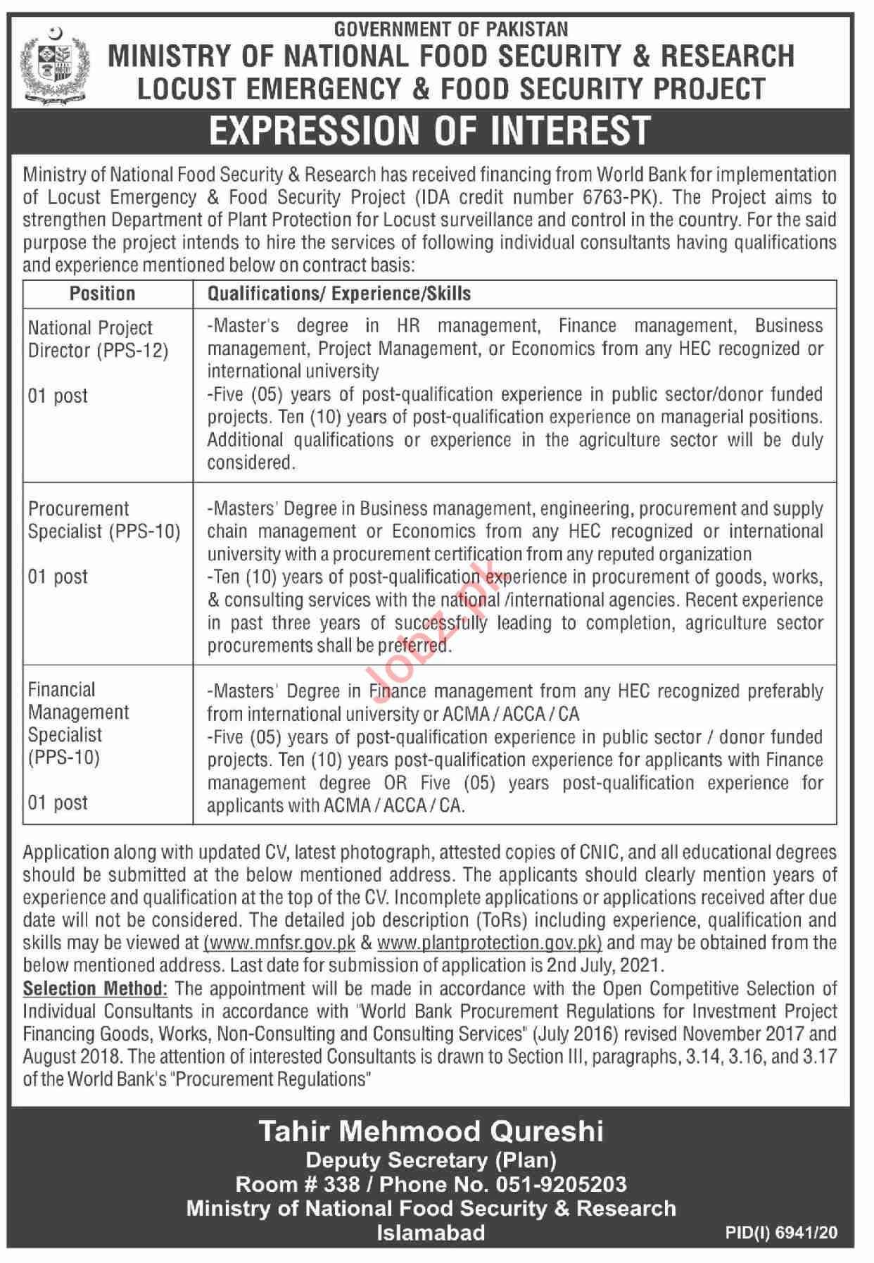 Locust Emergency & Food Security Project Islamabad Jobs 2021