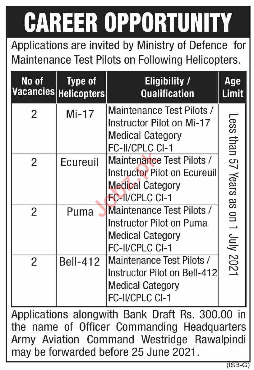 Pakistan Army Aviation Corps Rawalpindi Jobs 2021 Pilots