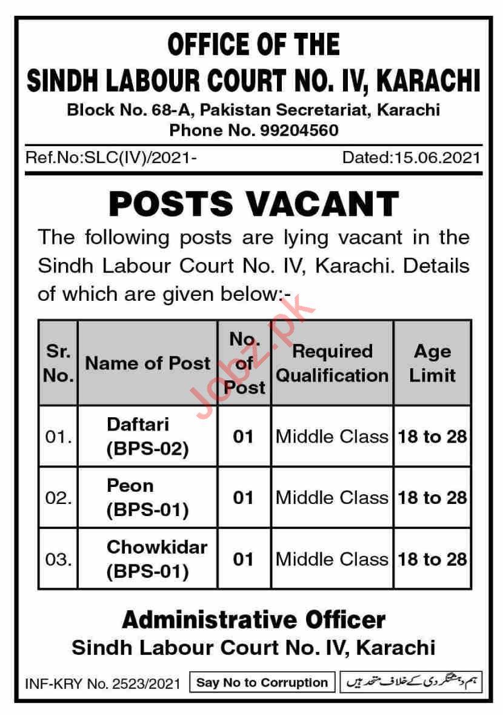 Sindh Labour Court Karachi Jobs 2021 for Daftari & Peon