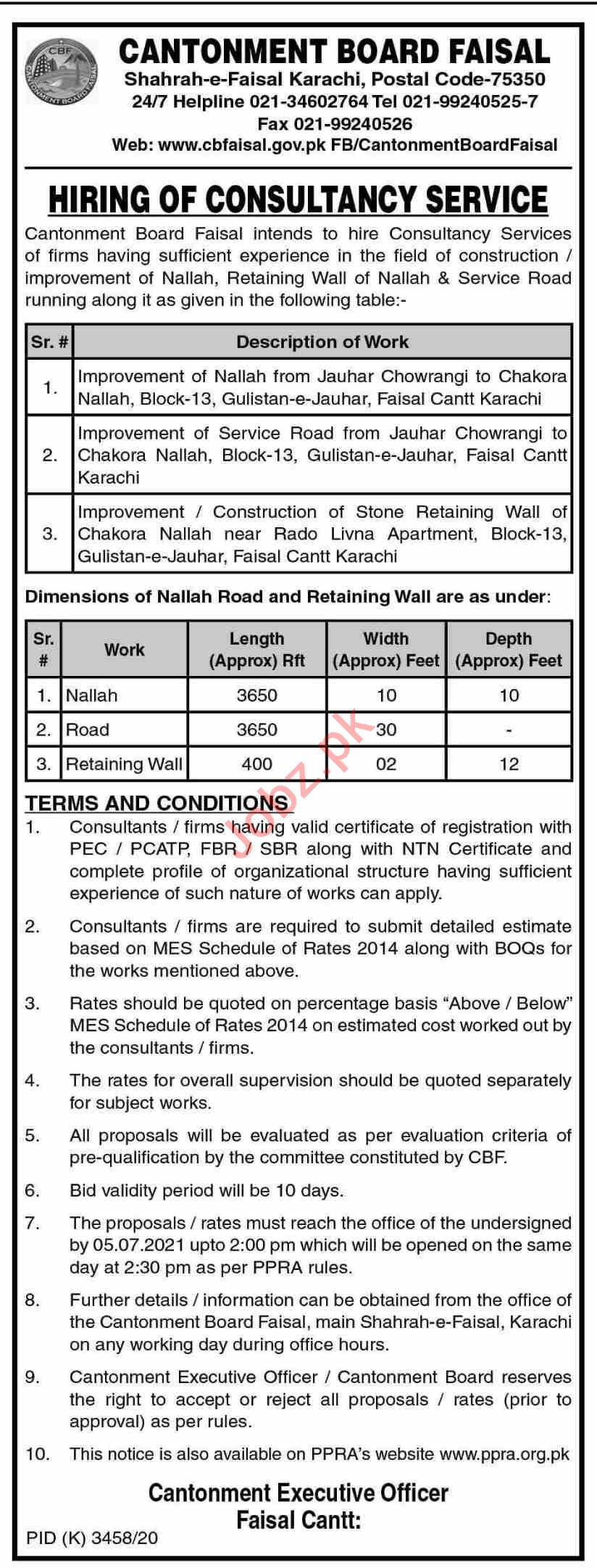 Cantonment Board Faisal CBF Karachi Jobs 2021 for Consultant