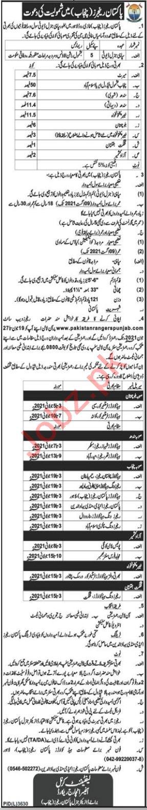 Pakistan Rangers Punjab Jobs 2021 for Sepoy General Duty
