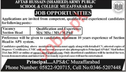 Aftab Hussain Army Public School & College APS&C Jobs 2021