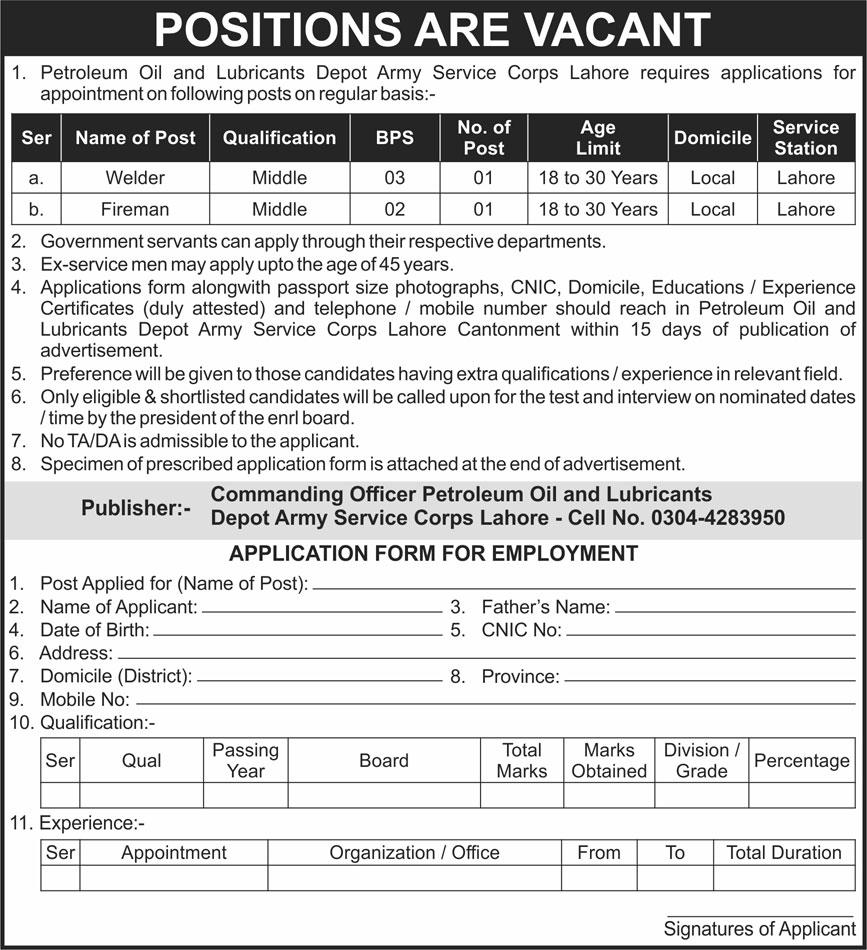 Petroleum Oil & Lubricants Depot ASC Lahore Jobs 2021