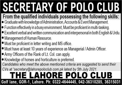 The Lahore Polo Club Jobs 2021 for Secretary