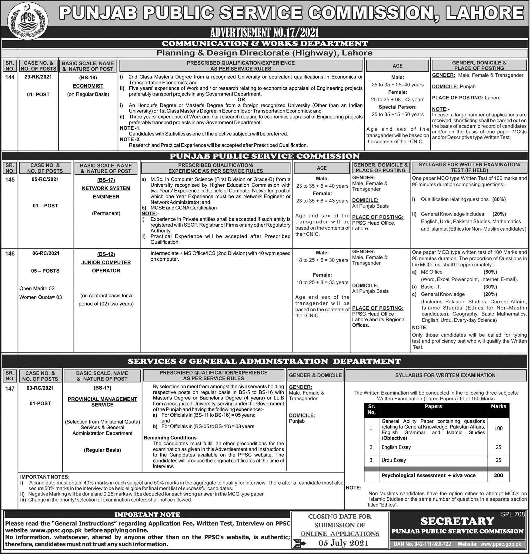 Punjab Public Service Commission PPSC Jobs July 2021