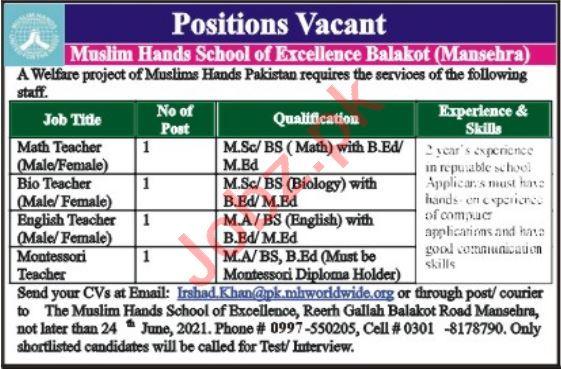 Muslim Hands School of Excellence Balakot Jobs 2021