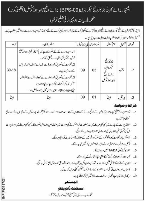 Local Govt And Rural Development Department Nowshera KP Jobs