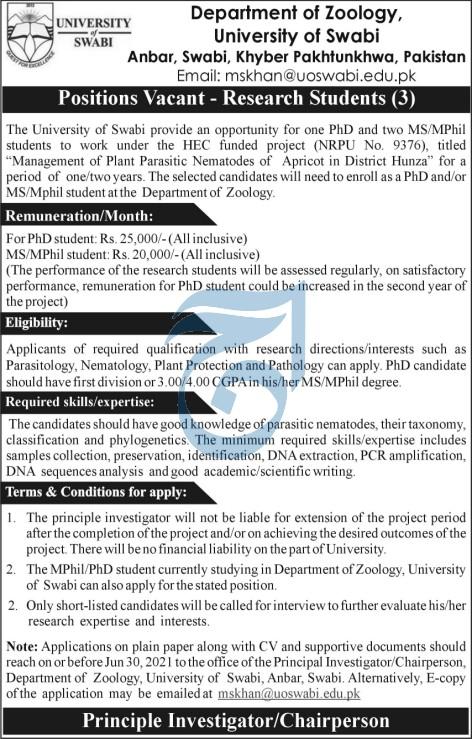 Department of Zoology University of Swabi