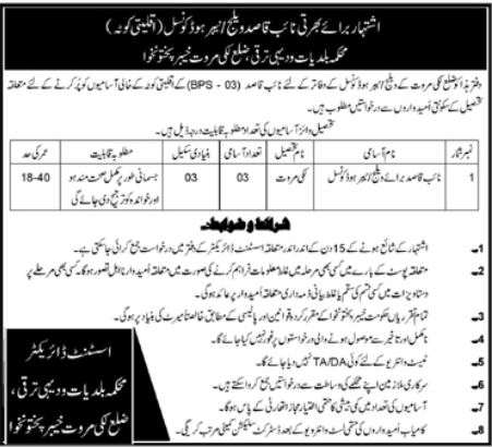 Naib Qasid Jobs in Village Council Lakki Marwat KPK