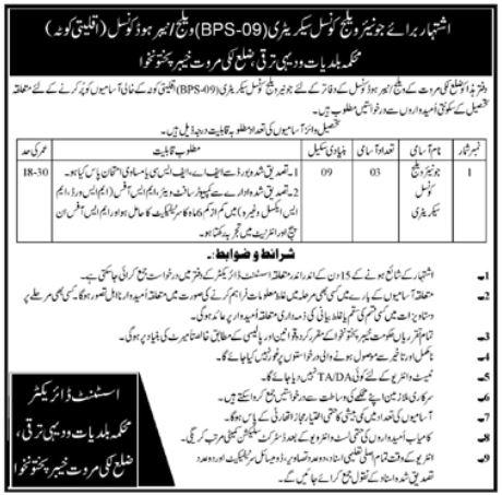 Village Council Secretary Jobs in Lakki Marwat KPK