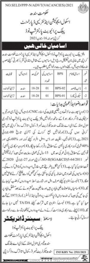 Public Private Partnership E&LD Sindh Jobs 2021
