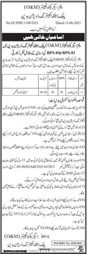 Public Health Engineering Division Badin Sindh Jobs 2021