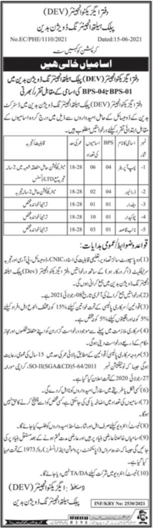 Public Health Engineering PHE Badin Sindh Jobs 2021