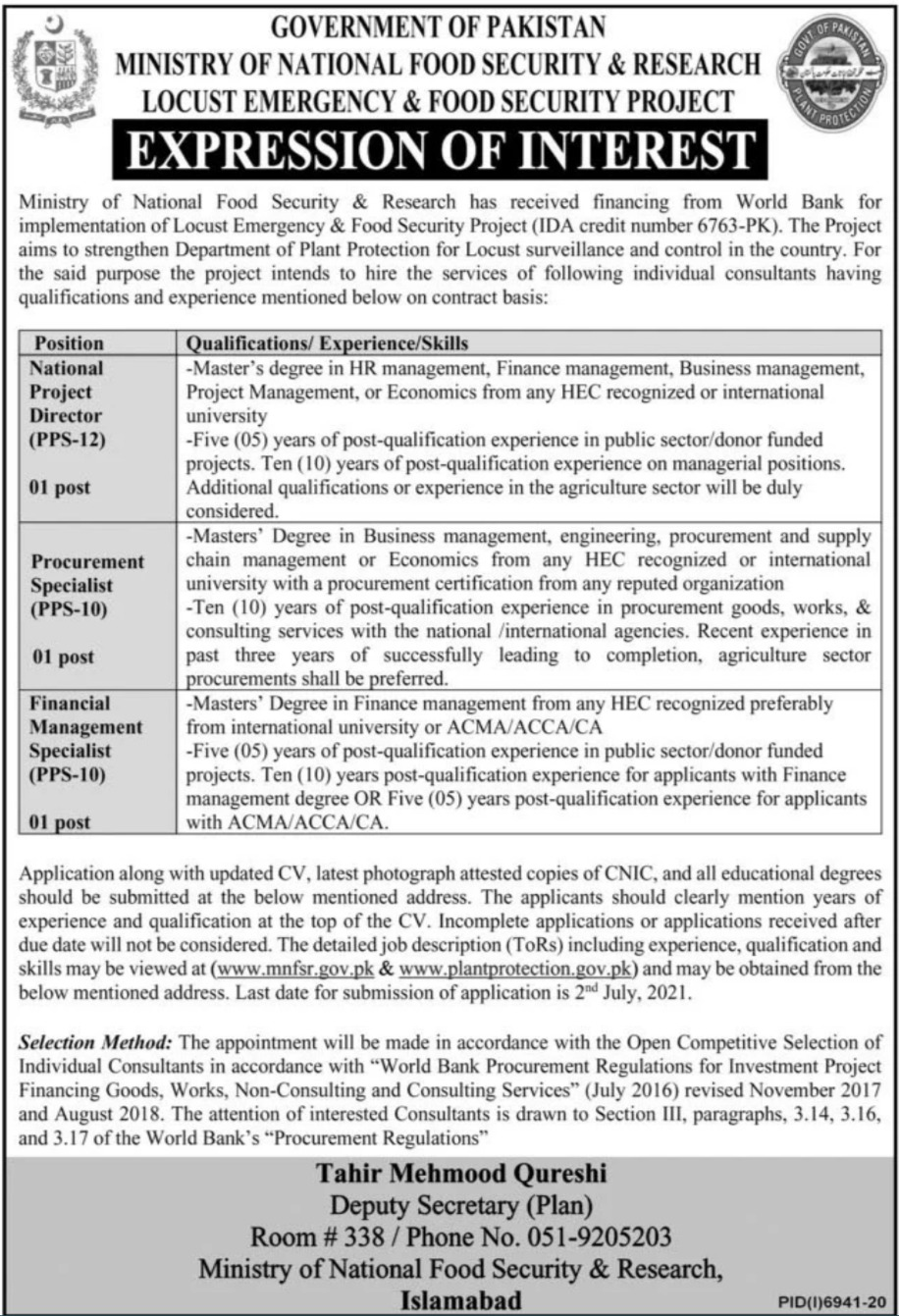 Locust Emergency And Food Security Project Jobs 2021