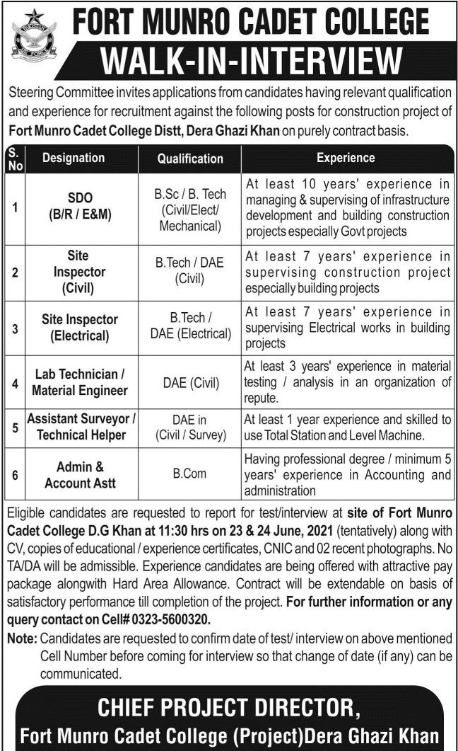 Fort Manro Cadet College Project Jobs 2021