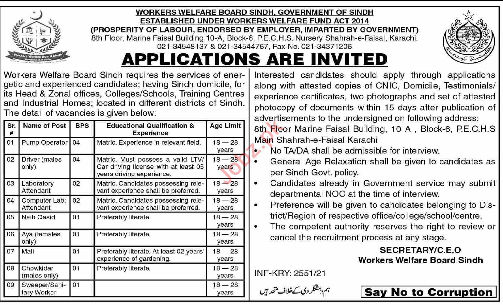 Workers Welfare Board Sindh Jobs 2021 for Pump Operator