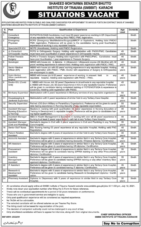 SMBB Institute of Trauma Karachi Jobs 2021 for Consultants