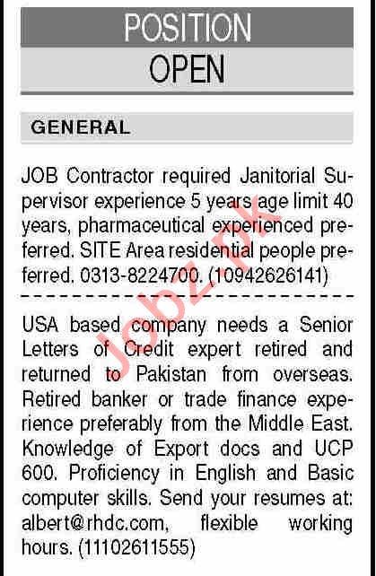 Senior Letter of Credit Expert & JOB Contractor Jobs 2021