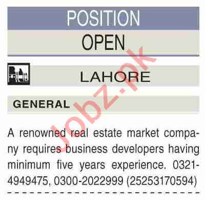 Real Estate Agent & Real Estate Manager Jobs 2021 in Lahore