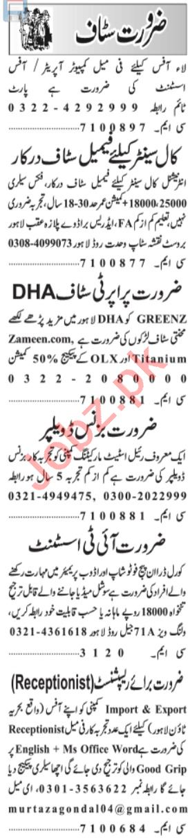 Admin manager & Finance Manager Jobs 2021 in Lahore