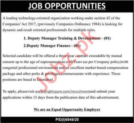 Deputy Manager Training & Development Jobs 2021 in Lahore