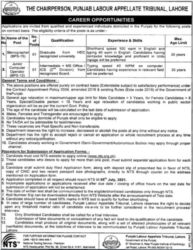 Punjab Labour Appellate Lahore Jobs Via NTS