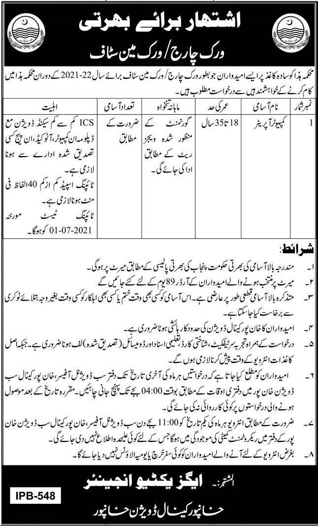 Khanpur Canal Division Punjab Jobs 2021