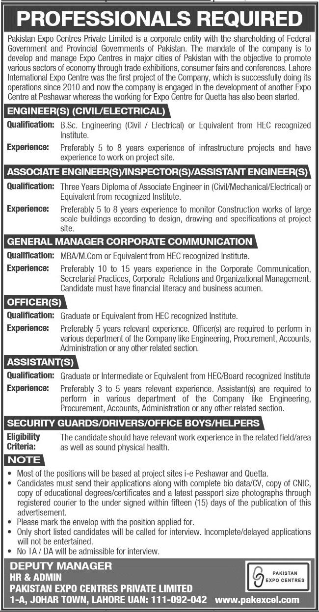 Pakistan Expo Centres Pvt Ltd Lahore Jobs 2021