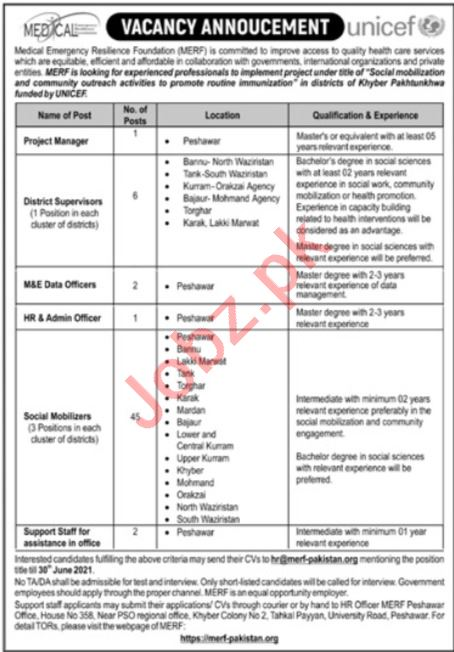 MERF Foundation Jobs 2021 for Project Manager & HR Officer