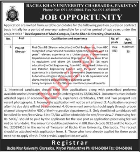 Bacha Khan University Charsadda Jobs 2021 Project Director