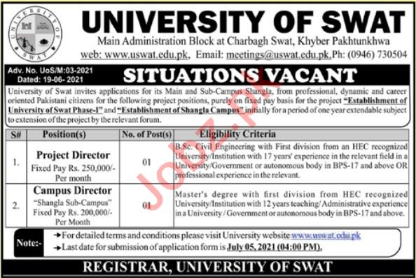 University of Swat Jobs 2021 for Campus & Project Director