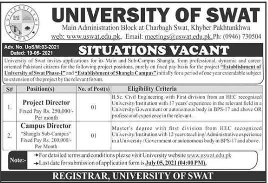 University of Swat Shangla Campus Jobs 2021