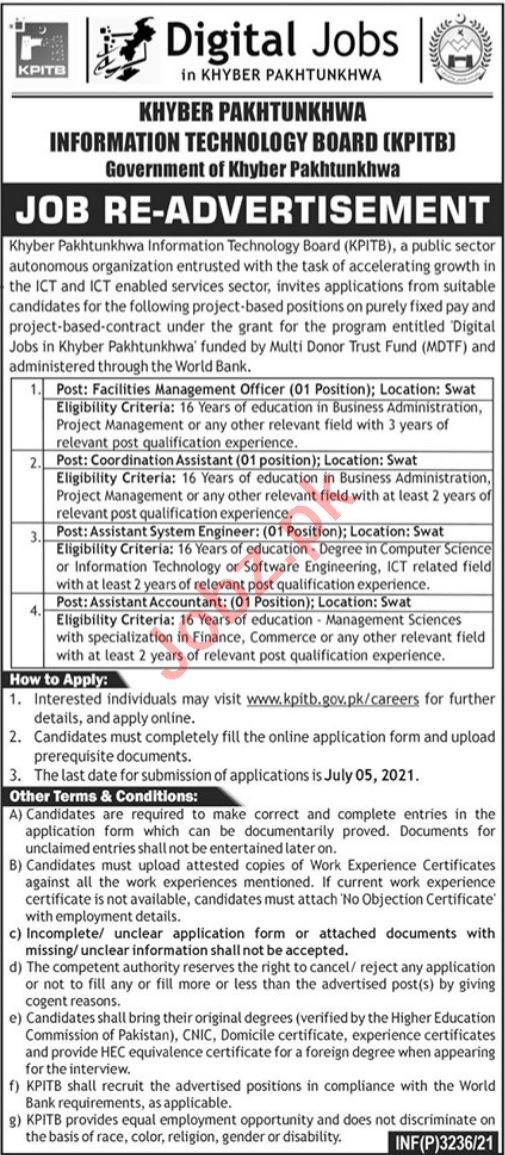 Information Technology Board KPITB Peshawar Jobs 2021