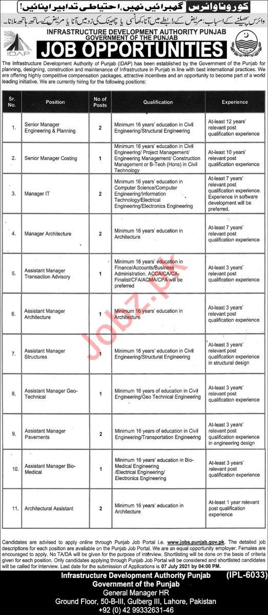 Infrastructure Development Authority Lahore IDAP Jobs 2021