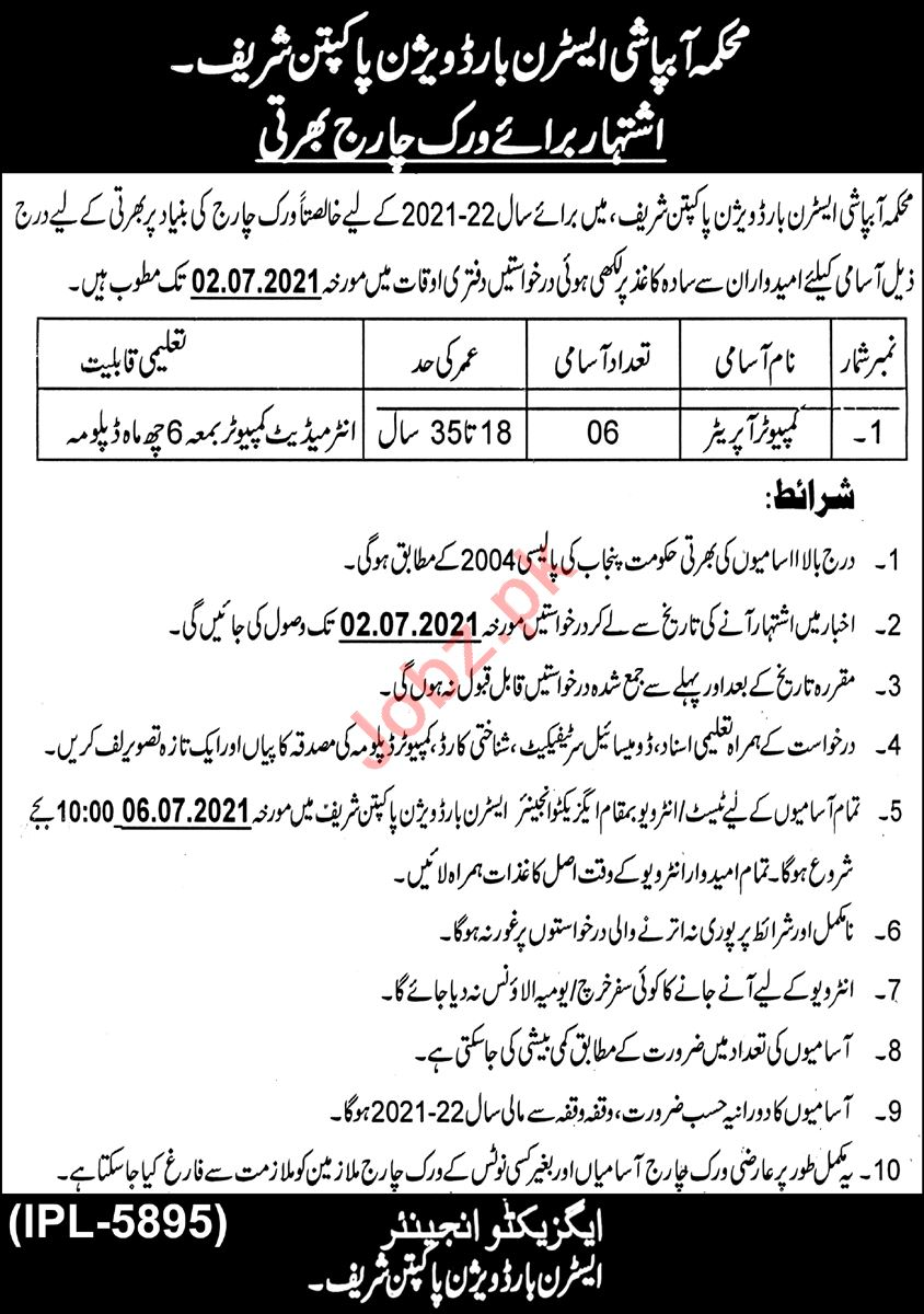 Irrigation Department Eastern Border Division Pakpattan Jobs