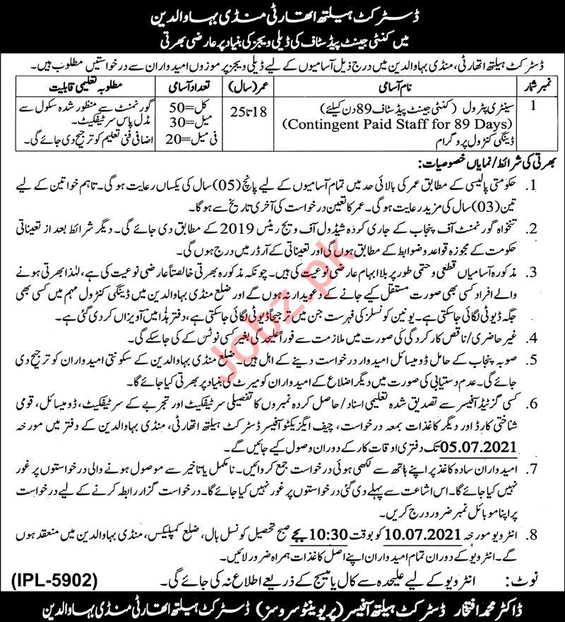 District Health Authority DHA Mandi Bahauddin Jobs 2021