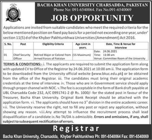 Bacha Khan University Charsadda KPK Jobs 2021